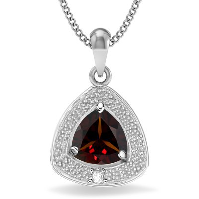 ELEGANT PERSIAN RED GARNET DOUBLE WHITE DIAMOND 0.925 STERLING SILVER W/ PLATINUM PENDANT