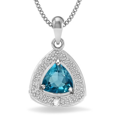 ENDEARING SKY BLUE TOPAZ DOUBLE WHITE DIAMOND 0.925 STERLING SILVER W/ PLATINUM PENDANT