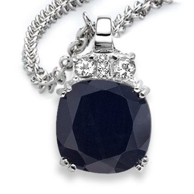 MONSTER GENUINE SAPPHIRE & GENUINE TRIPLE DIAMOND PURE 0.925 STERLING SILVER W/ PLATINUM PENDANT