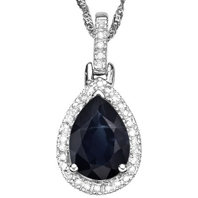 ROMANTIC 1.16 CT GENUINE BLACK SAPPHIRE DOUBLE WHITE DIAMOND 0.925 STERLING SILVER W/ PLATINUM PENDANT