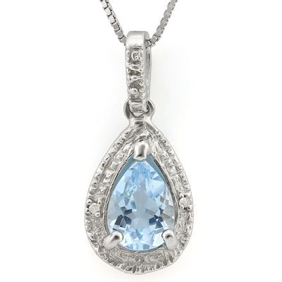 SPLENDID BLUE TOPAZ DOUBLE WHITE DIAMOND 0.925 STERLING SILVER W/ PLATINUM PENDANT