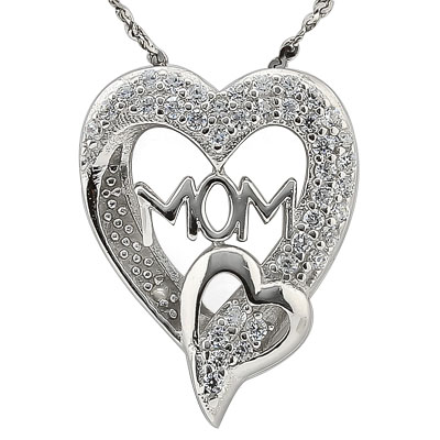 MARVELOUS 0.03 CARAT TW CUBIC ZIRCONIA & GENUINE DIAMOND PLATINUM OVER 0.925 STERLING SILVER PENDANT