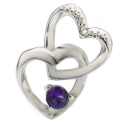 ALLURING HEART TO HEART AMETHYST WITH DIAMOND  PLATINUM OVER 0.925 STERLING SILVER PENDANT