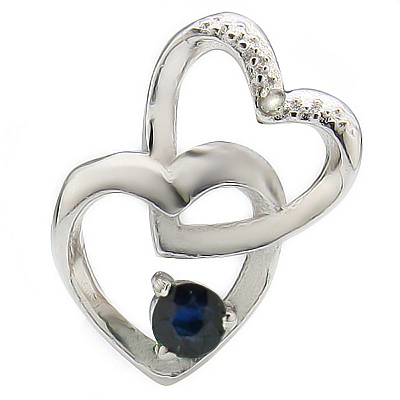 AWESOME HEART TO HEART 0.16 CARAT TW (1 PCS) GENUINE BLACK SAPPHIRE WITH DIAMOND PLATINUM OVER 0.925 STERLING SILVER PENDANT