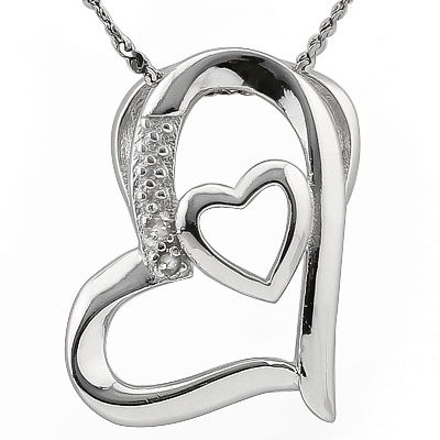 ALLURING 0.01 CARAT TW (2 PCS) GENUINE DIAMOND PLATINUM OVER 0.925 STERLING SILVER PENDANT