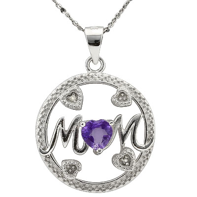 AWESOME 0.41 CARAT TW (1 PCS) AMETHYST PLATINUM OVER 0.925 STERLING SILVER PENDANT