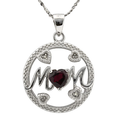 LOVELY 0.63 CARAT TW (1 PCS) GARNET PLATINUM OVER 0.925 STERLING SILVER PENDANT