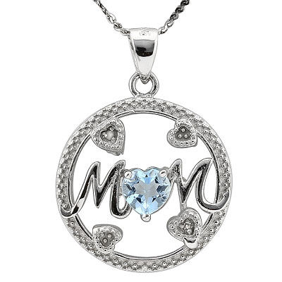 BRILLIANT 0.54 CARAT TW (1 PCS) BLUE TOPAZ PLATINUM OVER 0.925 STERLING SILVER PENDANT