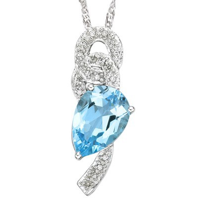 SPECIAL! 2.29 CT SKY BLUE TOPAZ DOUBLE WHITE DIAMOND 0.925 STERLING SILVER W/ PLATINUM PENDANT