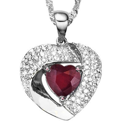 UNIQUE HEART RUBY GENUINE WHITE DIAMONDS 0.925 STERLING SILVER W/ PLATINUM PENDANT