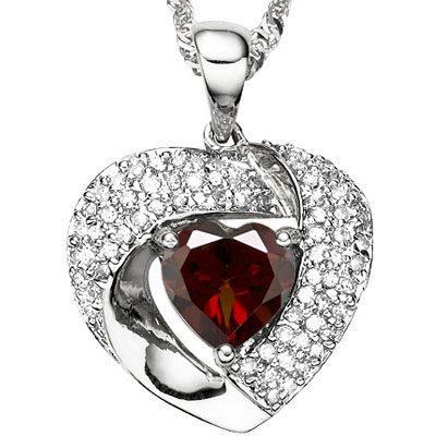 ASTONISHING 0.99 CT GARNET WITH DOUBLE GENUINE DIAMONDS PLATINUM OVER 0.925 STERLING SILVER PENDANT