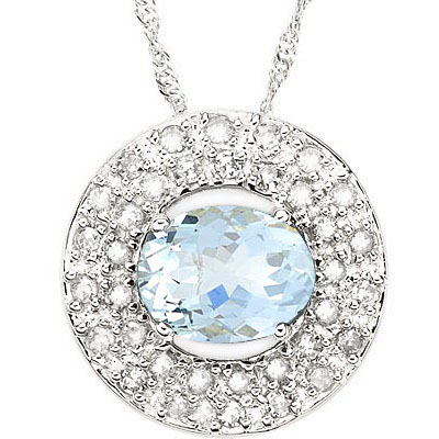 ALLURING 1.00 CT AQUAMARINE WITH DOUBLE GENUINE DIAMONDS 0.925 STERLING SILVER W/ PLATINUM PENDANT