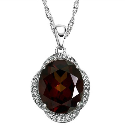 SPECIAL 5.08 CT GARNET GENUINE DIAMONDS 0.925 STERLING SILVER W/ PLATINUM PENDANT