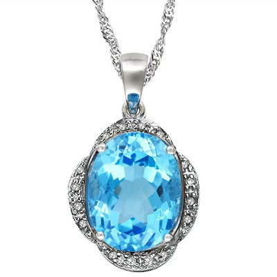 MESMERIZING 4.11 CT SKY BLUE TOPAZ DOUBLE WHITE DIAMOND 0.925 STERLING SILVER W/ PLATINUM PENDANT
