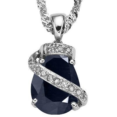 ROYAL & BOLD GENUINE BLACK SAPPHIRE & GENUINE WHITE DIAMOND 0.925 STERLING SILVER PENDANT