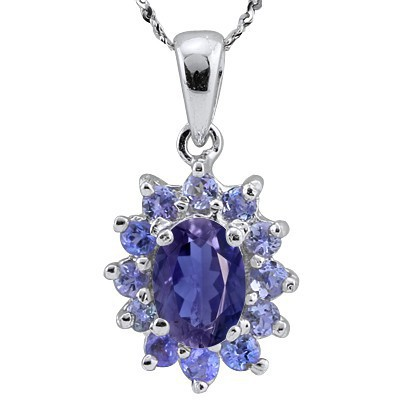 BEAUTIFUL PUPLISH BLUE IOLITE & 12 PCS GENUINE TANZANITE 0.925 STERLING SILVER W/ PLATINUM PENDANT