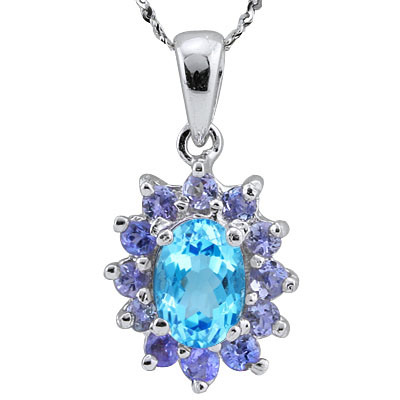EXCELLENT 1.32 CARAT BLUE TOPAZ & GENUINE TANZANITE PLATINUM OVER 0.925 STERLING SILVER PENDANT