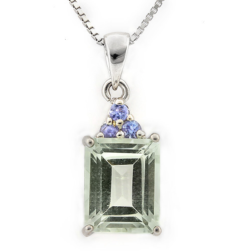 MAGNIFICENT 2.00 CT GREEN AMETHYST & 3 PCS GENUINE TANZANITE 0.925 STERLING SILVER W/ PLATINUM PENDANT
