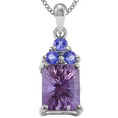 BEAUTIFUL! FLORAL LAVENDER AMETHYST TRIPLE TANZANITE 0.925 STERLING SILVER W/ PLATINUM PENDANT