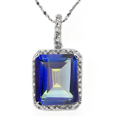 BRILLIANT 5.13 CARAT BLUE MYSTIC GEMSTONE & DOUBLE GENUINE DIAMONDS PLATINUM OVER 0.925 STERLING SILVER PENDANT