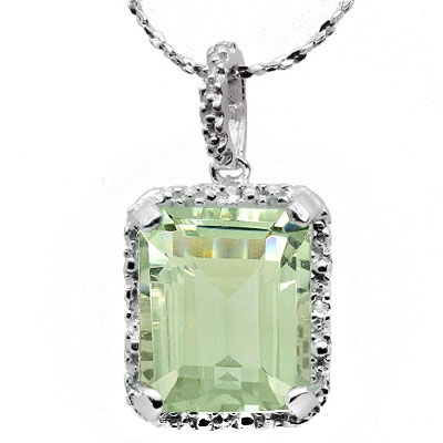 EXQUISITE 5.26 CARAT GREEN AMETHYST WITH DOUBLE GENUINE DIAMONDS PLATINUM OVER 0.925 STERLING SILVER PENDANT