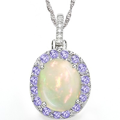 GORGEOUS! 3.86 CT LAB OPAL & 16 PCS GENUINE TANZANITE 0.925 STERLING SILVER W/ PLATINUM PENDANT