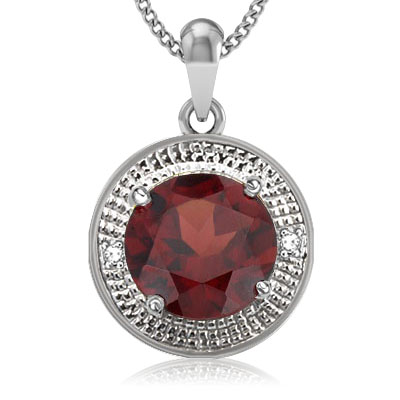SPECTACULAR 3.87 CT GARNET WITH DOUBLE GENUINE DIAMONDS 0.925 STERLING SILVER W/ PLATINUM PENDANT
