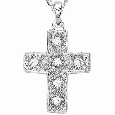 GLAMOROUS CROSS GENUINE WHITE DIAMOND 0.925 STERLING SILVER W/ PLATINUM PENDANT