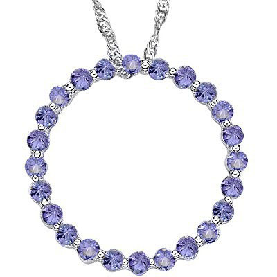 ELEGANT 24 PCS GENUINE TANZANITE 0.925 STERLING SILVER W/ PLATINUM PENDANT
