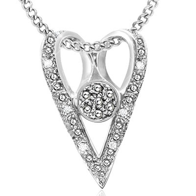HEART LOVE! SPECIAL GENUINE WHITE DIAMONDS 0.925 STERLING SILVER W/ PLATINUM PENDANT