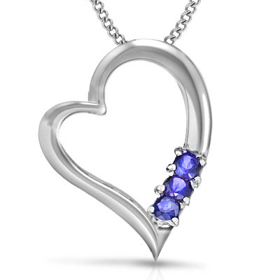 EXCELLENT 0.10 CT GENUINE TANZANITE 0.925 STERLING SILVER W/ PLATINUM PENDANT