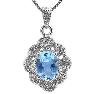 CHARMING 1.46 CARAT BLUE TOPAZ WITH DOUBLE GENUINE DIAMONDS PLATINUM OVER 0.925 STERLING SILVER PENDANT
