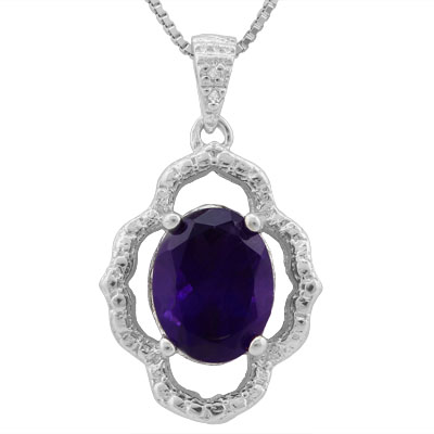 SPARKLING 1.702 CARAT TW AMETHYST & GENUINE DIAMOND PLATINUM OVER 0.925 STERLING SILVER PENDANT