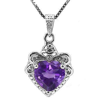 DAZZLING 1.66 CARAT TW AMETHYST & GENUINE DIAMOND PLATINUM OVER 0.925 STERLING SILVER PENDANT