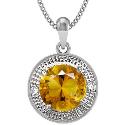 SPLENDID GOLDEN YELLOW CITRINE 2PCS WHITE DIAMOND 0.925 STERLING SILVER W/ PLATINUM PENDANT