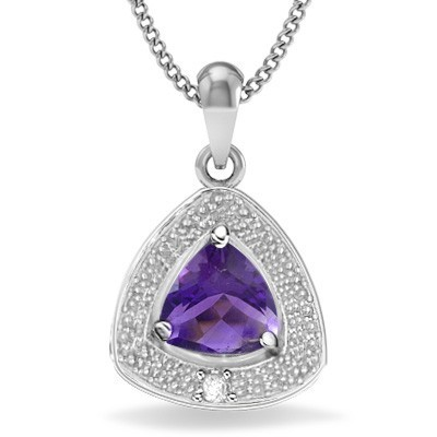 ELEGANT FLORAL LAVENDER AMETHYST GENUINE WHITE DIAMOND 0.925 STERLING SILVER W/ PLATINUM PENDANT