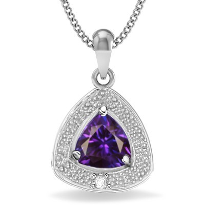 RARE COLOR CHANGING LAB ALEXANDRITE GENUINE WHITE DIAMOND 0.925 STERLING SILVER W/ PLATINUM PENDANT