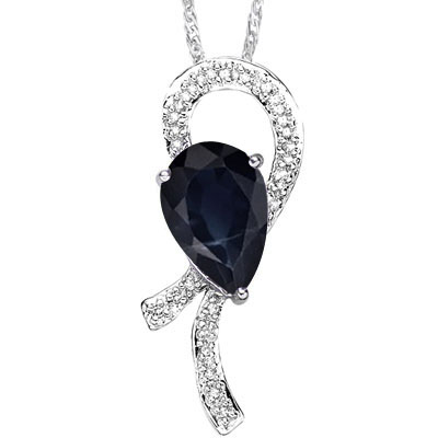 MAGNIFICENT 1.91 CARAT TW GENUINE BLACK SAPPHIRE & GENUINE DIAMOND PLATINUM OVER 0.925 STERLING SILVER PENDANT