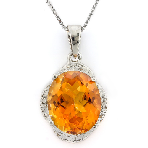 ELITE 3.7 CARAT AZOTIC GEMSTONE & DOUBLE GENUINE DIAMONDS PLATINUM OVER 0.925 STERLING SILVER PENDANT
