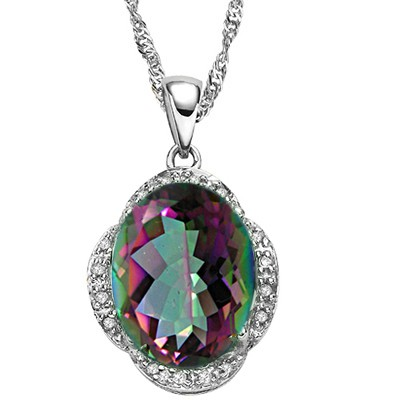 AMAZING 5.50 CT MYSTIC GEMSTONE WITH DOUBLE DIAMONDS 0.925 STERLING SILVER W/ PLATINUM PENDANT