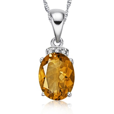 GOLDEN CITRINE & TRIPLE GENUINE DIAMOND 0.925 STERLING SILVER W/ PLATINUM PENDANT