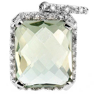 LOVELY 5.51 CT GREEN AMETHYST & WHITE DIAMOND 0.925 STERLING SILVER W/ PLATINUM PENDANT