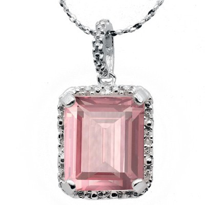 ELITE 5.50 CT ROSE QUARTS WITH DOUBLE DIAMOND 0.925 STERLING SILVER W/ PLATINUM PENDANT
