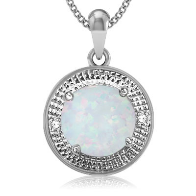CLASSIC 3.11 CARAT TW CREATED FIRE OPAL & GENUINE DIAMOND PLATINUM OVER 0.925 STERLING SILVER PENDANT