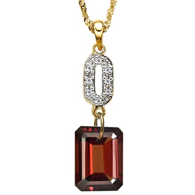2.34 CT RASPBERRY RED GARNET & 8PCS WHITE GENUINE DIAMOND 10K SOLID YELLOW GOLD PENDANT