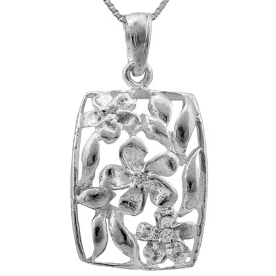 EXCELLENT 0.01 CARAT TW (3 PCS) CREATED WHITE SAPPHIRE PLATINUM OVER 0.925 STERLING SILVER PENDANT