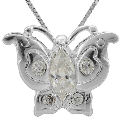 MARVELOUS 2 CARAT TW (5 PCS) CREATED WHITE SAPPHIRE & CREATED WHITE SAPPHIRE PLATINUM OVER 0.925 STERLING SILVER PENDANT