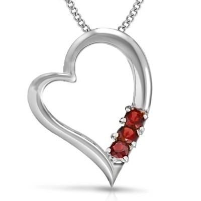 CHARMING TRUE HEART RED GARNET 0.925 STERLING SILVER W/ PLATINUM PENDANT