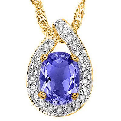 AMAZING 1.26 CT GENUINE TANZANITE & 25PCS GENUINE DIAMOND (VS-SI) 10K SOLID YELLOW GOLD PENDANT