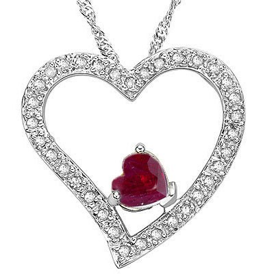 FASCINATING! 2/3 CARAT RUBY & 1/5 CARAT (34 PCS) DIAMOND 925 STERLING SILVER PENDANT